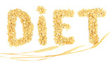 "the word ""diet"" made from oat flakes with ears isolated on"