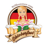 Pretty blond girl with beer, Oktoberfest logo design