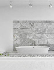 Modern white In-Floor Bathroom with stone wall