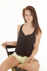 Girl black tank top sit smile