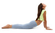 Young beautiful fitness girl doing yoga exercise isolated