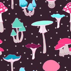 Colorful mushrooms seamless vector background