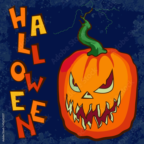 Halloween pumpkin against dark background vector illustration
