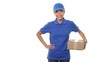 Female package delivery courier person