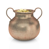 Golden coins in pot - 3D render isolated with clipping path.