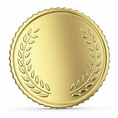 Blank golden medal isolated on white with clipping path