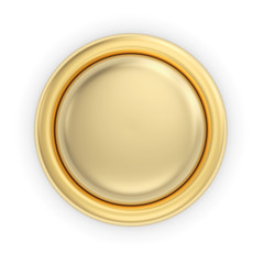 Golden 3D button on white isolated with clipping path