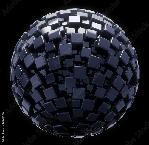 3D geometric sphere on balck isolated with clipping path