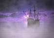 Pirate Ship at Sunrise with Fog - 56264009