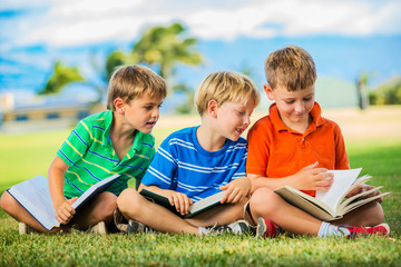 Group of Boys Reading
