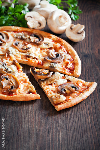 Vegetarian pizza with mushrooms, selective focus
