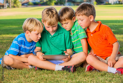 Kids using tablet computer
