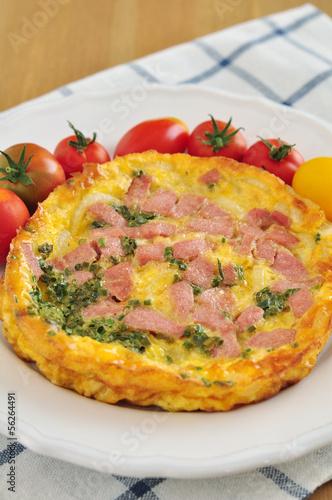 Omlette mit Schinken und Tomaten