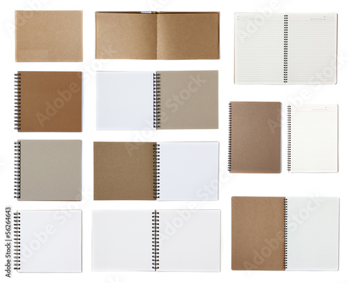Notebook paper isolated on white background