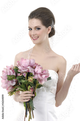 Close up bride holding rose