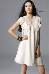 pretty young woman in white clothing