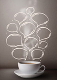 Fototapety Coffee mug with hand drawn speech bubbles