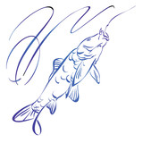 Fish symbol,  hand drawn vector llustration