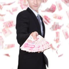 happy business man hold China money