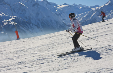 Skier on the slope ski resort Zell am See, Austrian