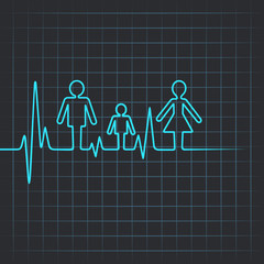 Heartbeat make family icon vector illustration
