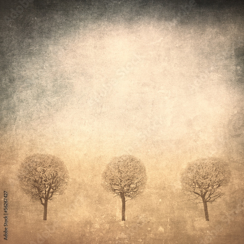 grunge image of trees over grunge background