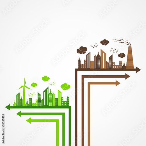 Ecology and pollution concept with brain vector illustration
