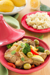Tagine with meat and vegetables .