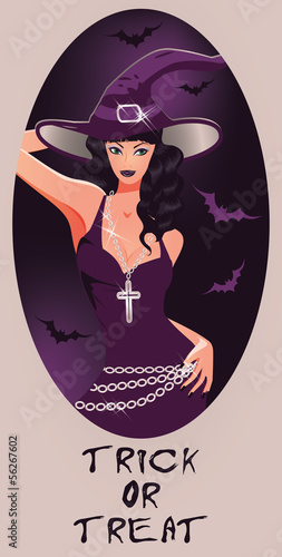 Trick or Treat Halloween card. Beautiful witch, vector