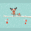 Rudolph Ringing Bell Pulling Sleigh Gift Tree Retro Dots
