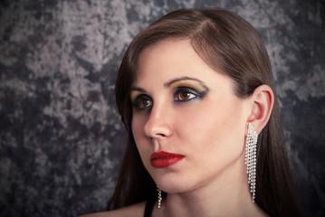 Brunette with earrings