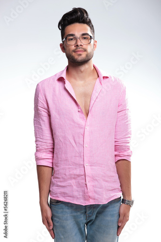 young fashion man standing in attention