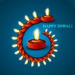 Beautiful Happy diwali stylish diya blue colorful hindu festival