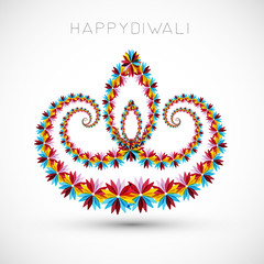 Artistic with floral colorful decoration for diwali festival cel