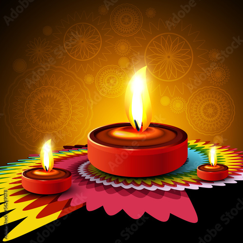Beautiful Happy diwali diya rangoli hindu festival design backgr