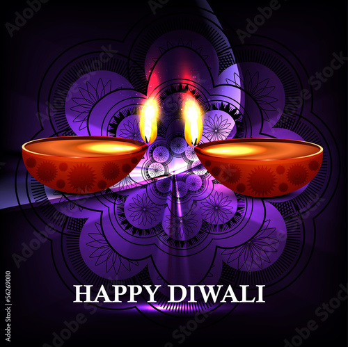 Beautiful Happy diwali diya hindu festival shiny background vect