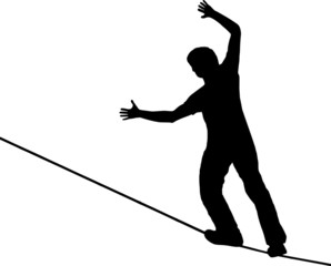 slackliner on white background