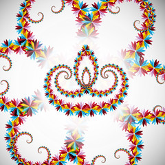 Beautiful artistic with floral colorful decoration for diwali fe