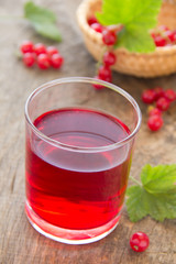The juice of red currants.