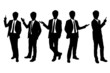 Silhouettes of business man presenting