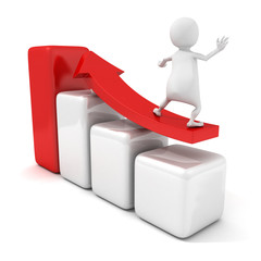 3d man surfing on red growing arrow success bar chart