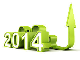 green 2014 new year business arrow growing up concept