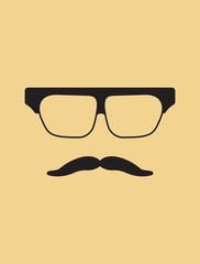 Hipster template. Nerd glasses and mustaches