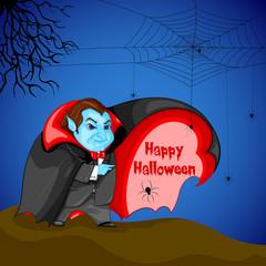 Dracula wishing Happy Halloween