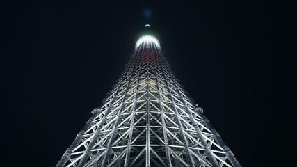 2020年東京五輪開催決定 東京スカイツリー特別ライトアップ(2013年9月11日)ゴールドライティング点灯瞬間バージョン