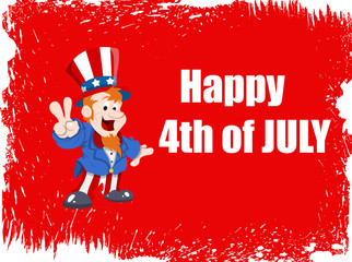 Happy 4th of July Vector Background including uncle Sam
