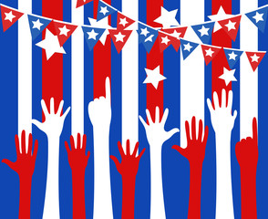 raising hands - 4th of July Vector theme Design