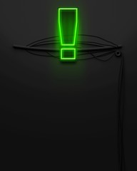 Neon glowing signboard with exclamation mark, copyspace