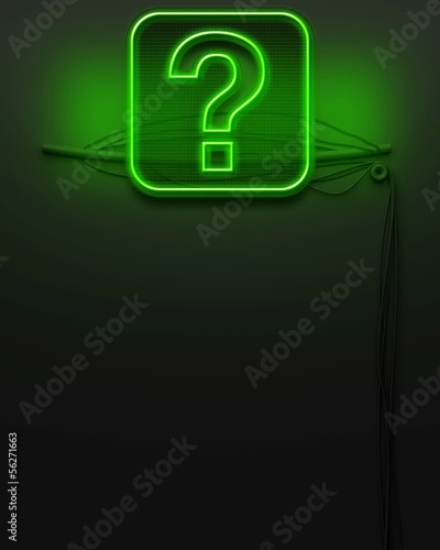 Neon glowing signboard with question mark, copyspace