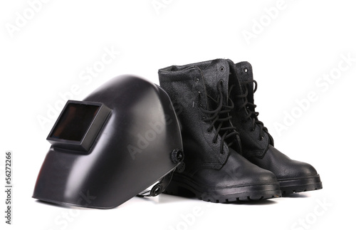 Welding mask and working boots.
